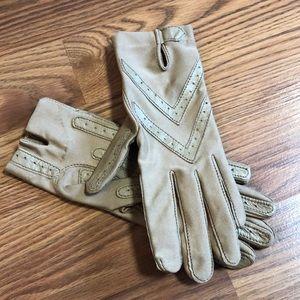 Vintage Nude Chevron Nylon, Leather Driving Gloves